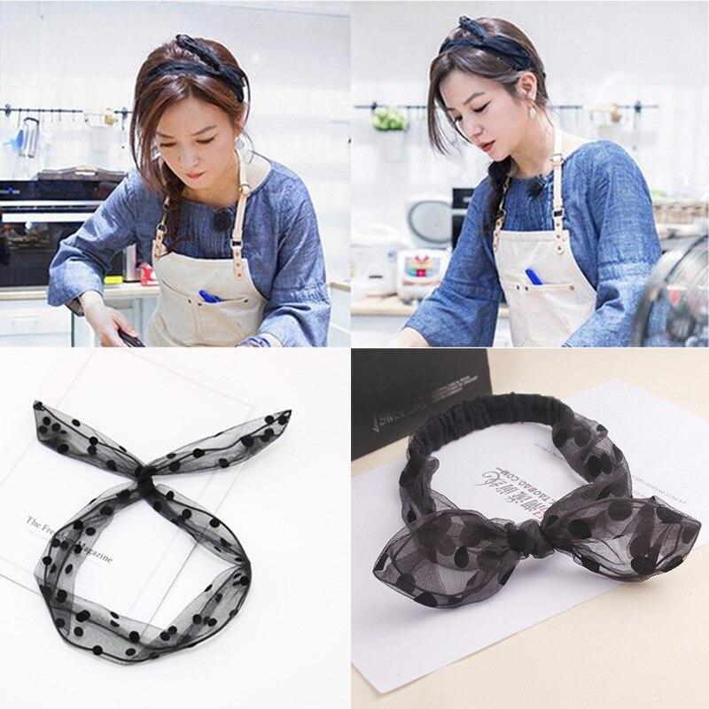 New Fashion Women NET yarn Rabbit Ears Elastic Turban Hairband Hair Head  bands Accessories Cute Girl Headband headwear Headdress bbe07fdd683a