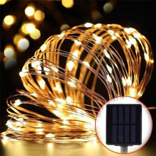 цена на Outdoor Solar Powered Copper Wire LED String Lights 20M 10M 5M Waterproof Fairy Light for Christmas Garden Holiday Decoration