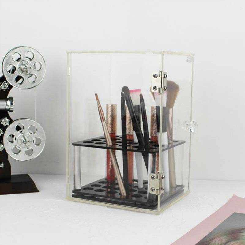 Crystal Makeup Brush Box Acrylic Makeup Organizer Cosmetic Storage Tool Flashing Pencil Holder Lipstick Organizer Holder Case