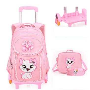 School wheeled backpack bag for Girls Rolling backpacks bag Children Wheeled bags kids School backpack On wheels Trolley bags