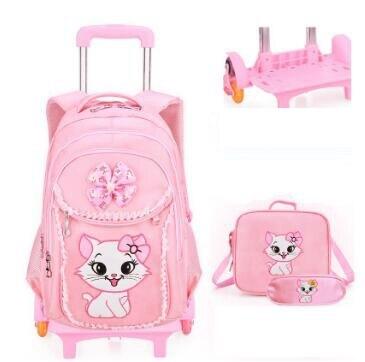 Saco de escola mochila com rodas para Meninas mochilas de Rolamento de Rodas Crianças sacos de Escola dos miúdos mochila Sobre rodas sacos Do Trole