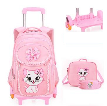 School wheeled backpack bag for Girls Rolling backpacks bag Children Wheeled bags kids School backpack On wheels Trolley bags цены