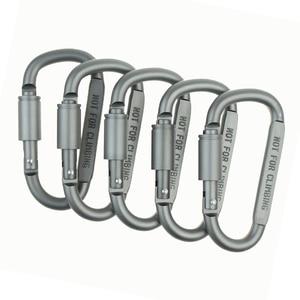 Image 5 - A Forma di D In Alluminio Arrampicata Moschettone A Vite di Blocco Portachiavi Clip di Gancio Appeso Kit Da Viaggio per Escursione di Campeggio Esterno Keys Portachiavi