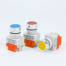 цена на 1PCS LAY37 Latching Switch Sliver Contact Push Button Red Green Blue Yellow White Black 1NO 1NC Momentary Push button switches