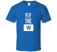Fashion 2017 Cool New Design Chicago Fly The W Simple Blue T Shirt High Quality Streetwear