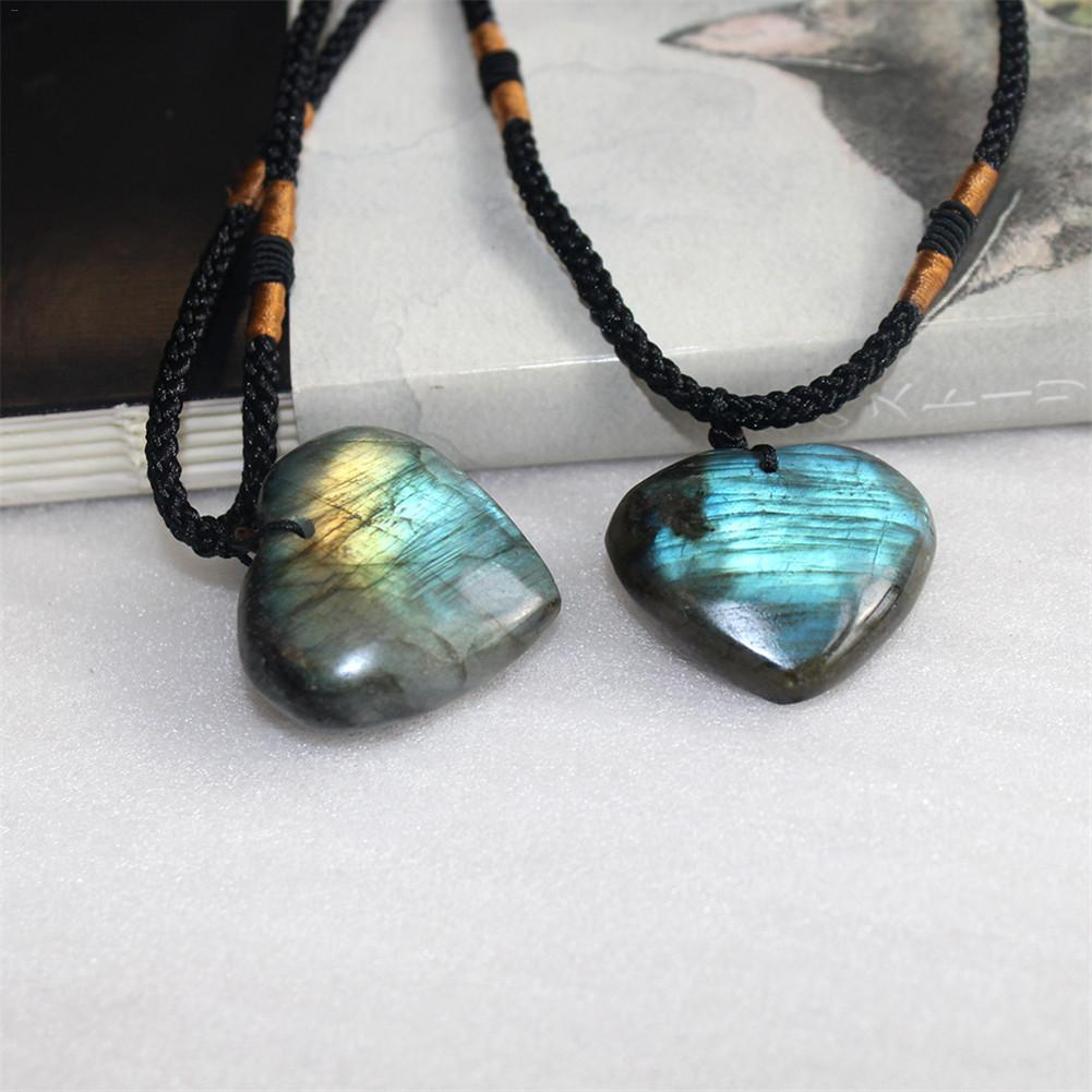 Hanging-Ornament Necklace Crafts Radiation-Protection Heart-Pendant Natural Gem Braid