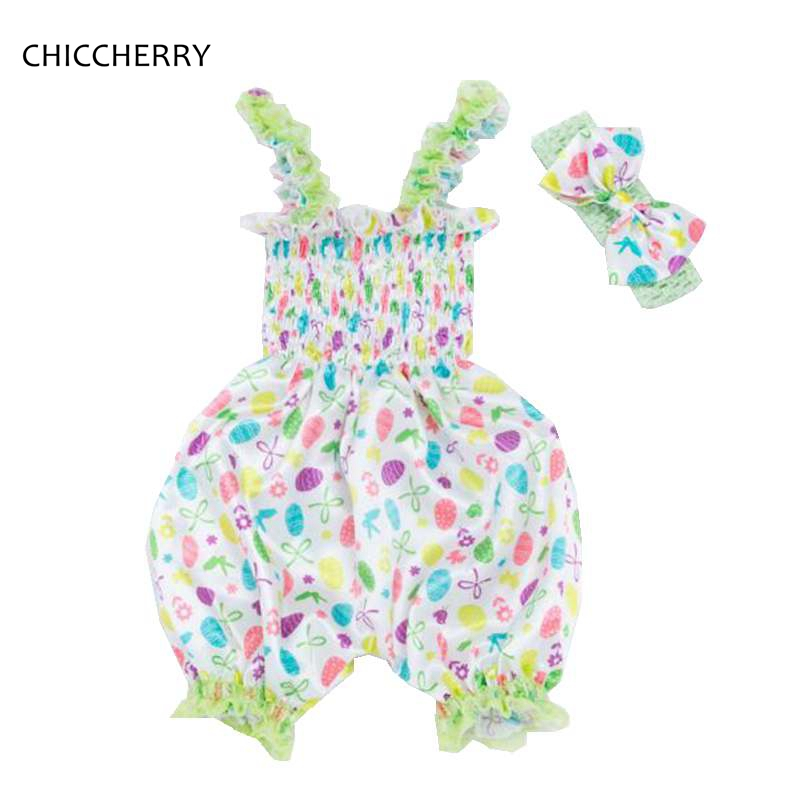 Newborn Baby Girl Easter Outfit Sleeveless Romper Jumpsuit Headband Floral Girls Suit Summer Children Clothing Roupa De Bebe cute newborn baby girl clothes floral lace romper 2017 summer sleeveless infant bebes princess onepieces sunsuit outfit jumpsuit