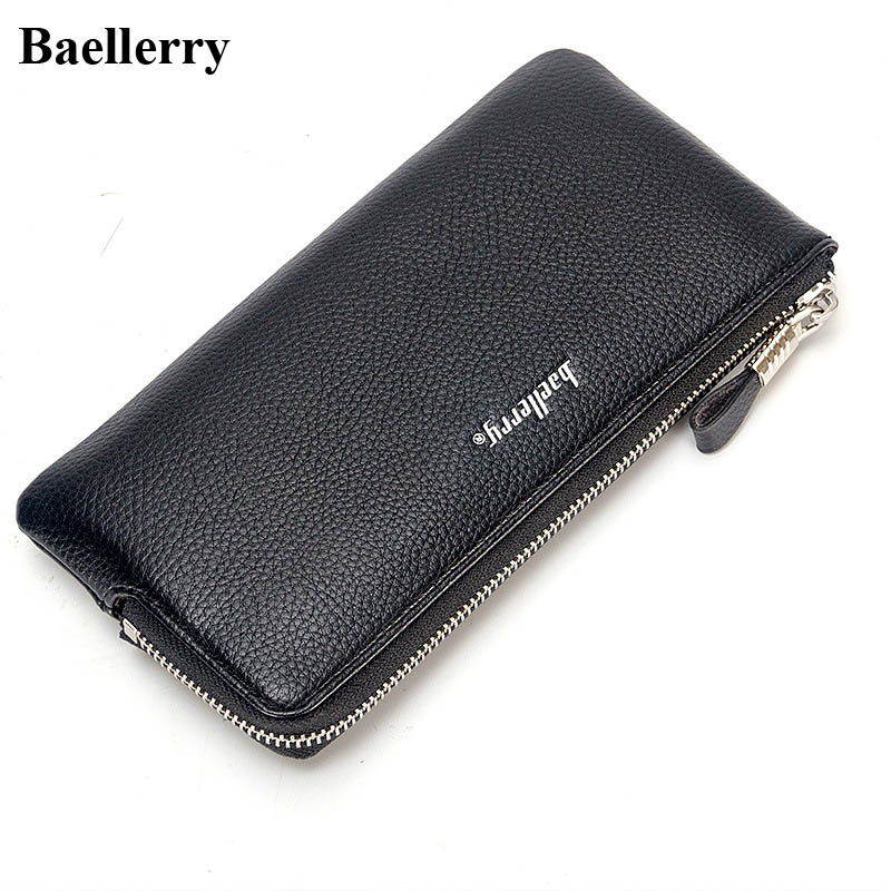 Brand Leather Phone Wallets Men Slim Long Zipper Coin Purses Male Clutch Wallets Large Capacity Money Bags Credit Card Holders hot sale leather men s wallets famous brand casual short purses male small wallets cash card holder high quality money bags 2017