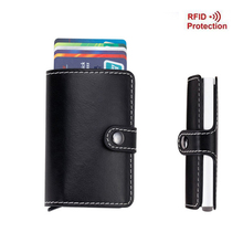 Antitheft Men Wallets Fashion Leather Aluminum Card Holder Slim RFID Wallet Pop Up Case Credit Card Protector Credit Card Holder