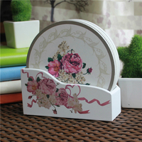 Wood Table Coasters Cup Mat Bowl Pad Fashion Simple Round Multicolor Flower Pattern 15cm X15cm 1