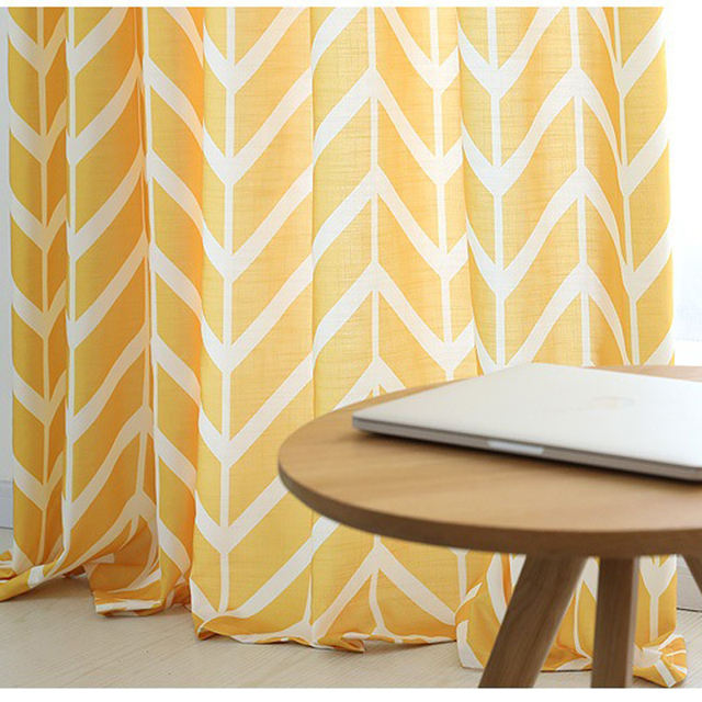 Modern Simple Yellow Printed Geometric Pattern Curtains Kitchen Bedroom  Decoration Curtains For Living Room Translucidus Curtain