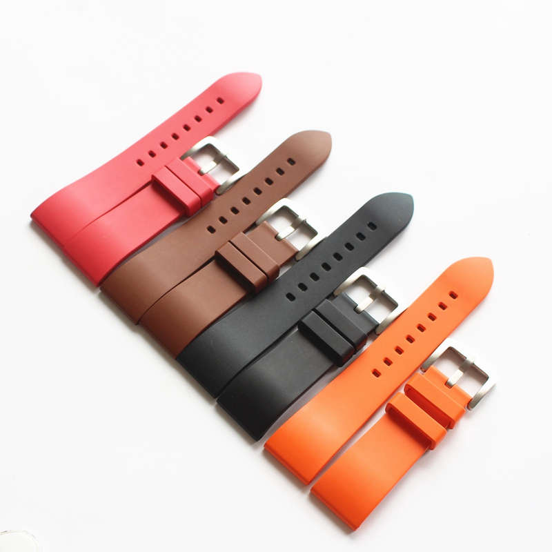 LUKENI 20mm 22mm 24mm Black Brown Orange Red Waterproof Rubber Watchband Watch Strap For Suunto Bracelet Belt lukeni 24mm camo gray green blue yellow silicone rubber strap for panerai pam pam111 watchband bracelet can with or without logo