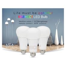 Miboxer 12W RGB+CCT Wireless FUT105 2.4G E27 LED Bulb Dimmable 2 in 1 Smart LED Light + FUT092 4-Zone 2.4G RF Remote