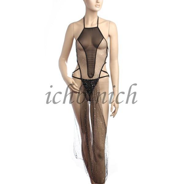 New Sexy Women Paillette Transparent Lingerie Gothic Backless Damen ...