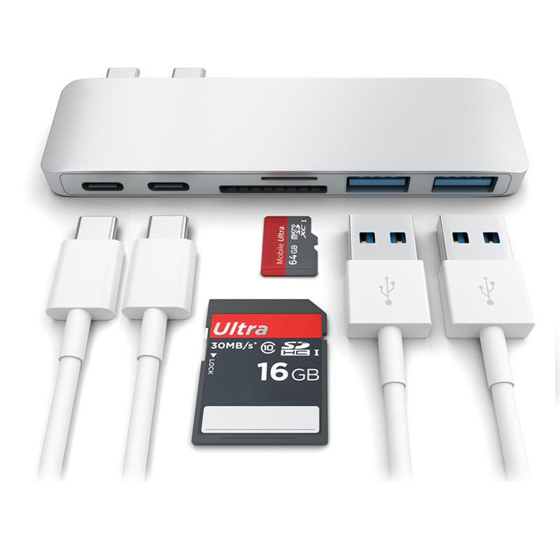 Aluminium Alloy 6-in-1 Dual Type-c HUB Card Reader USB-C HUB USB 3.0 Adapter Supporting OTG for Charging Macbook Pro 668 usb 3 1 type c card reader