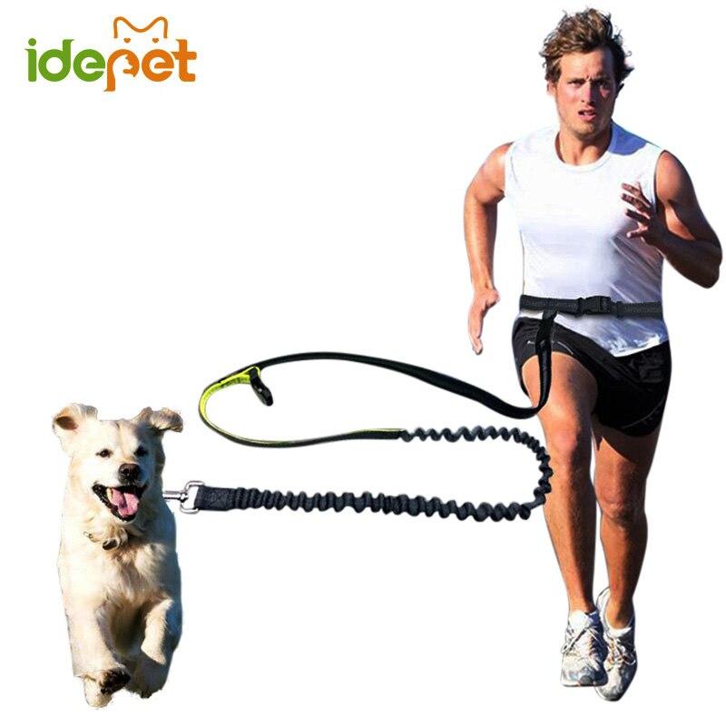Elastic Waist Dog Leash For Jogging Walking Pet Dog Product Adjustable Nylon Dog Leash With Reflective Strip hands free dog leas
