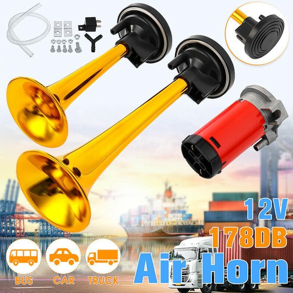178dB Claxon Horn 12V Dual Tone Auto Car Air Claxon Horn High Output Compressor Set Trumpet for Motorcycle Boat Truck Super Loud in Multi tone Claxon Horns from Automobiles Motorcycles