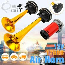 цена на 178dB Claxon Horn 12V Dual Tone Auto Car Air Claxon Horn High Output Compressor Set Trumpet for Motorcycle Boat Truck Super Loud