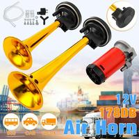 178dB Claxon Horn 12V Dual Tone Auto Car Air Claxon Horn High Output Compressor Set Trumpet for Motorcycle Boat Truck Super Loud