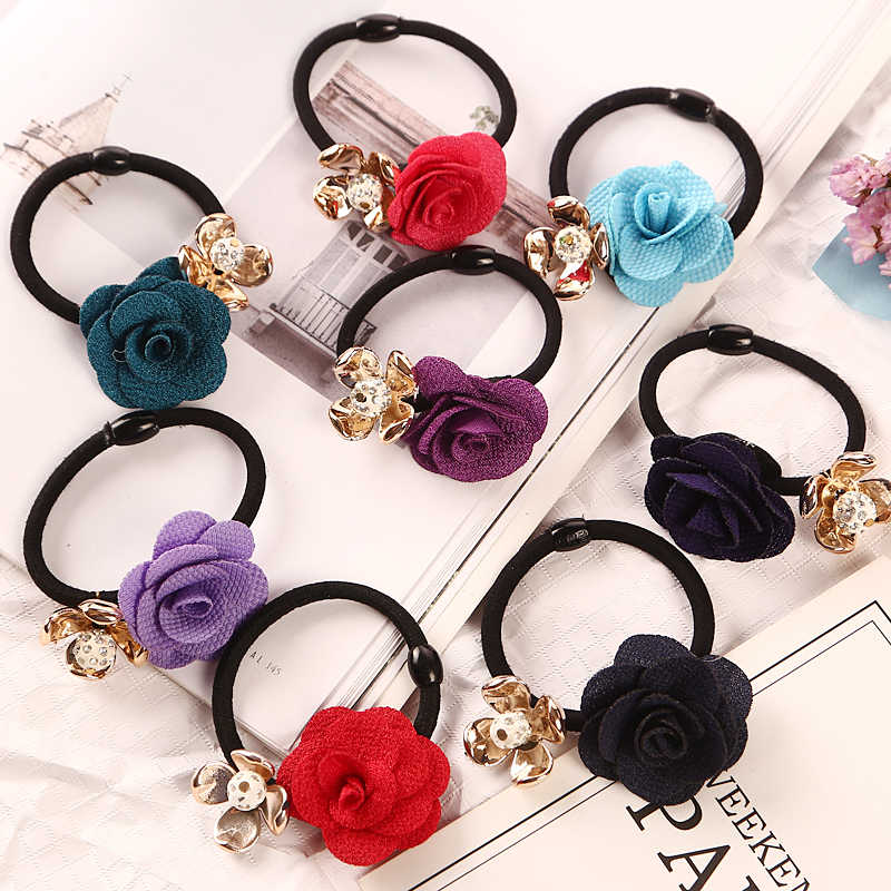 1PC Gold Plated Crystal Rose Flower Hair Rubber Bands Black Elastic Gum Headwear Women Girl Ponytail Holders Hair Accessories