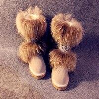 Высокое качество роскошные мода зимний мех енота из натуральной кожи снегоступы обувь на плоской подошве гольфы