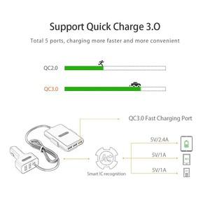 Image 3 - Chargeur de voiture NTONPOWER 5 Ports USB QC 3.0 avec câble dextension 1.8m avec attache détachable pour téléphone portable tablette GPS chargeur de voiture