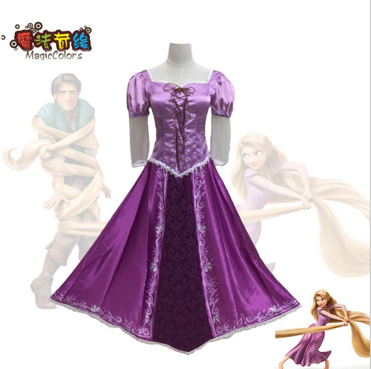 Disney Tangled Princess Rapunzel COSplay Costume Party Dress Wig Attire Outfit