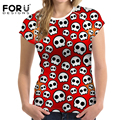 FORUDESIGNS Skull Head Women T-shirts Tops Women's Elastic Basic Tshirt Female Casual Tee Shirts Femme For Lady Plus Size S-XXL