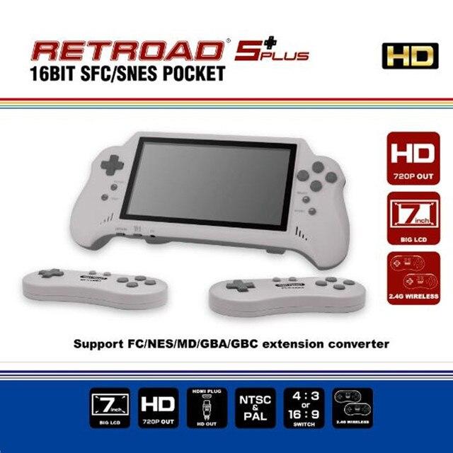 16 битная Карманная игровая консоль с HDMI ULTRA SNES 5PLUS, портативная игровая консоль, 7 дюймовый большой экран, беспроводные контроллеры 2,4 ГГц
