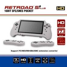 Console de videogame portátil 5plus, com 16bit hdmi ultra snes jogos retroad, tela grande de 7 polegadas, 2.4g controladores sem fio,