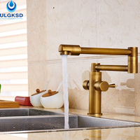 ULGKSD Kitchen Sink Faucet 360 Rotation Deck Mounted Antique Brass Dual Handles Faucet Hot And Cold