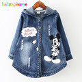 2-8Years/Spring Autumn Children Outerwear Casual Hooded Denim Baby Girls Clothing Infant Coats Jackets For Kids Clothes BC1015