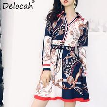 Delocah Autumn Women Dress Runway Fashion Designer Long Sleeve Gorgeous Sashes Printed Slim Modern Casual Lady Dresses цена