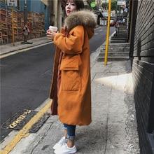 2018 Fashion Woman Large Fur Collar Hooded Coat Parkas Outwear Women Thickening Warm Winter Jacket