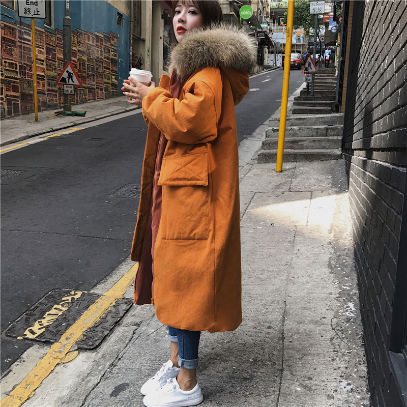2018 Fashion Woman Large Fur Collar Hooded Coat   Parkas   Outwear Women Thickening Warm Winter Jacket