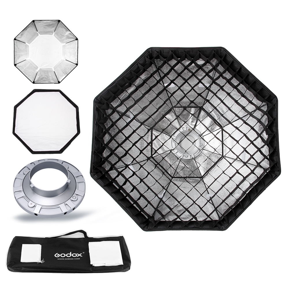 "Godox Pro Studio Octagon Softbox 95cm 37 ""Softbox Reflector Grid Honeycomb dengan Bowens Mount untuk Studio Strobe Flash Light"