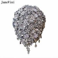 JaneVini Роскошный водопад полный алмазов серебряные свадебные букеты со стразами Букеты Свадебные аксессуары Рамо Флорес Novia