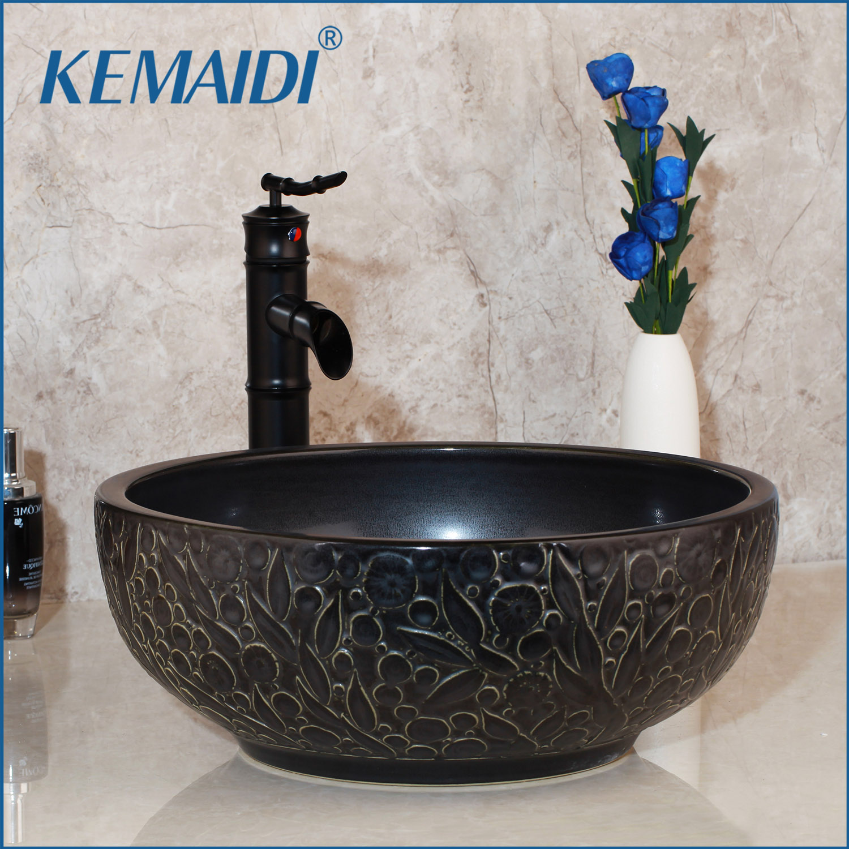 KEMAIDI Bathroom Sink Washbasin Ceramic Lavatory Bath Brass Set Faucet Mixer Black ORB Tap Bamboo Waterfall