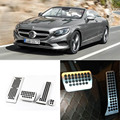 Brand New 4pcs Aluminium Non Slip Foot Rest Fuel Gas Brake Pedal Cover For Benz S-Class AT 2014-2016