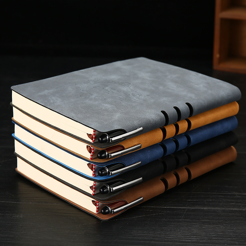 1pcs A5 Leather Notebook 112 Sheets Upscale Business Office Gift Notepad Practical Daily Memos Office School Notebook