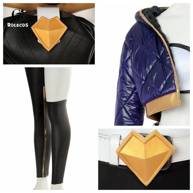ROLECOS KDA Akali Cosplay Costume LOL AKALI Cosplay Costume LOL K/DA Women Outfit Coat Pants Gloves Bag Hallowen 5