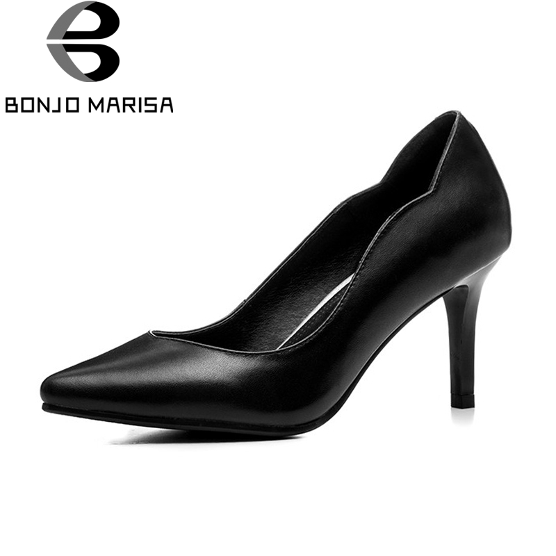 BONJOMARISA New women's Genuine Leather Thin High Heels Solid Pointed Toe Shoes Woman Casual Office Pumps Big Size 33-44 size 33 43 new 2017 genuine leather womens shoes wedges pointed toe high heels women office & career shoes woman single shoes
