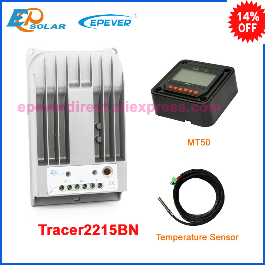 Charger EPSolar EPEVER 24 volts solar panel controller MPPT with MT50 remote meter Tracer2215BN 20A 20amp+temperature sensor solar 24v 20a 20amp battery charger controller epever brand product tracer2215bn temperature sensor wifi function and mt50 meter