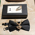 2017 Men Business Casual Wedding Party Gold Antler Bow Tie Male Fashion Hademade Tie Quality Guarantee ML001