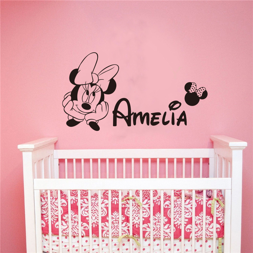Mickey Minnie Customized Personalized Name Children Art Home Decor Nursery Kids Room Vinyl Sticker Decal Removable Wall Sticker