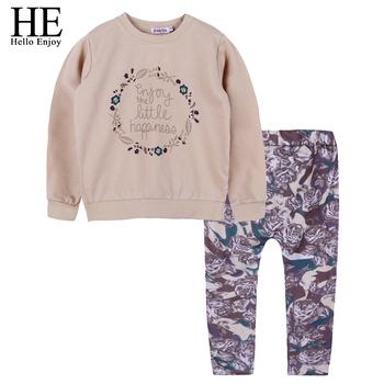 HE Hello Enjoy Girls Clothes Children Clothing set Spring Autumn Fashion Kids Clothes Long Sleeve Sweater+Print Pants Tracksuit