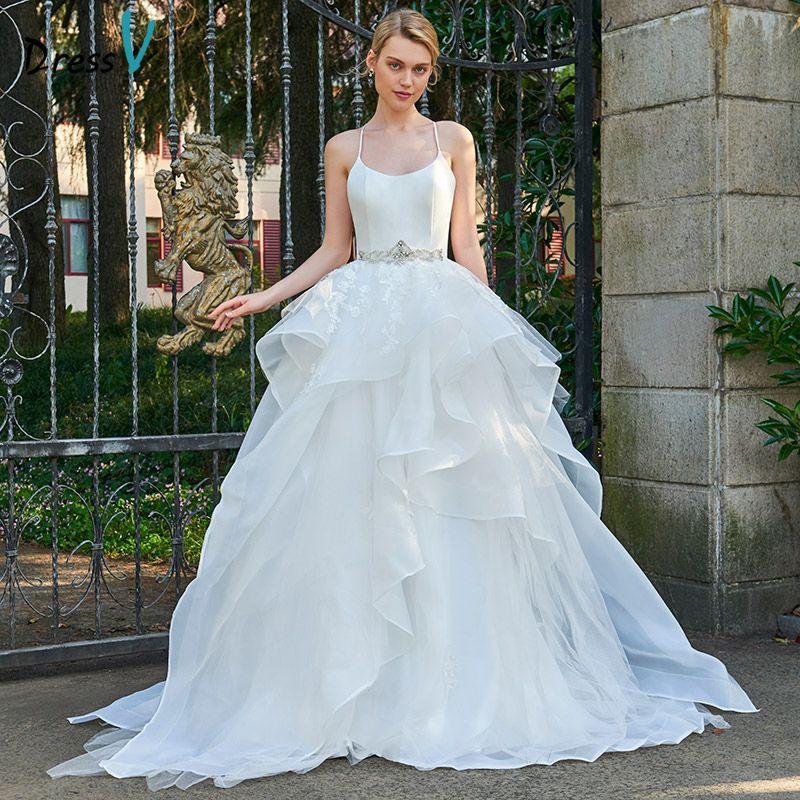 Wedding Ball Gowns With Straps: Dressv Spaghetti Straps Ball Gown Long Wedding Dress