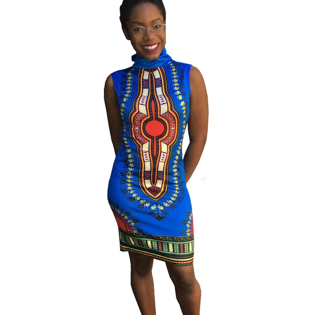 2017 Summer Beautiful Cheap Dresses Women High Turtleneck Retro Ethnic  Floral Bodycon Dashiki African Print Dress Moda Feminina bc8a2ac410ea