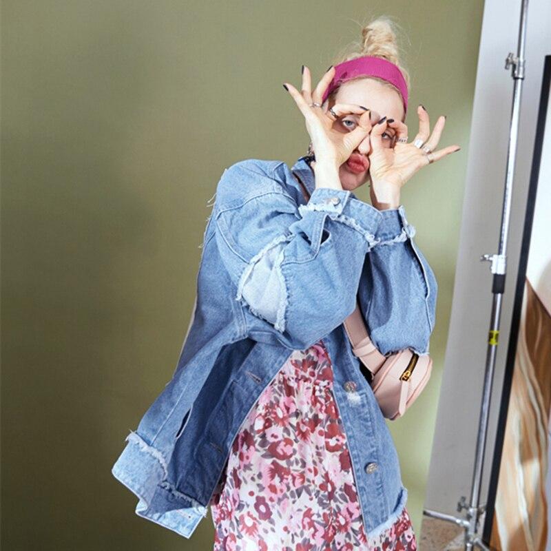 2018 Trou Causal Femmes Mode Veste Yzh131 Chic Ressort Courte Femelle New De Plus Blue Denim La Automne Manteau Printemps Harajuku Taille Ins A43q5jRL