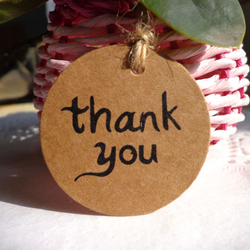 100pcs Round Thank you Brown Paper Tags,Gift Tag , Wedding Gift Tags, Party Tags Cards,Price Label